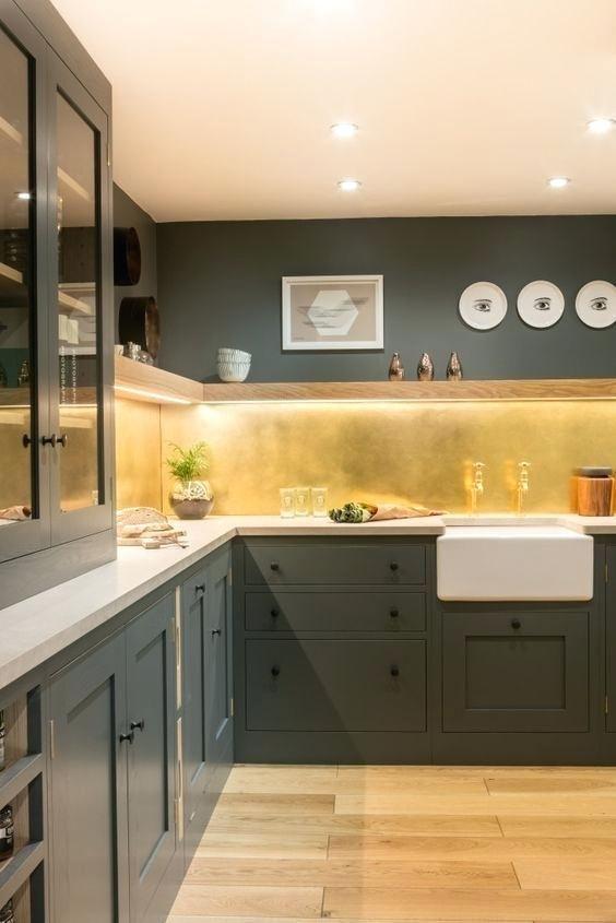 Aged Brass Backsplash Industrial Style Kitchen Sustainable