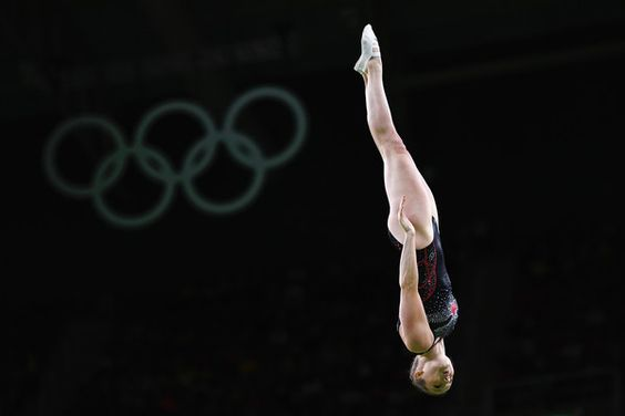 Rosannagh Maclennan of Canada competes during the Trampoline Gymnastics Women's Qualification on Day 7 of the Rio 2016 Olympic Games at the Rio Olympic Arena on August 12, 2016 in Rio de Janeiro, Brazil.
