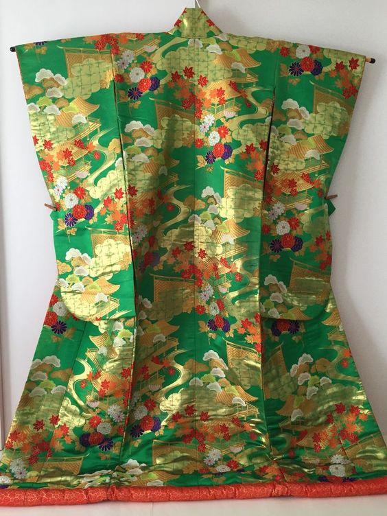 Vintage Japanese Wedding Silk Kimono Dress Uchikake, Pine, Maple, Green U115