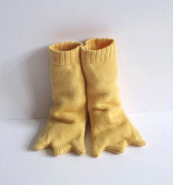 Knitted Bird Leg Booties  Long and Yellow by TheMiniatureKnitShop, $50.00