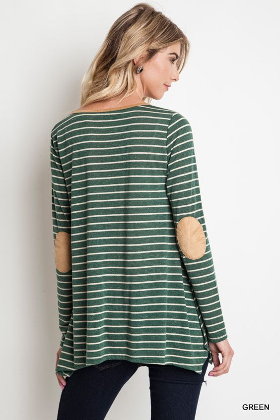 We've added a little something extra to your basic stripe shirt. Long sleeve stripe top with elbow patch Color: Green (elbow patch color: camel)