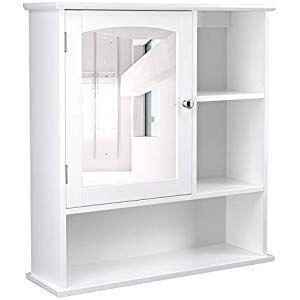 Vasagle Spiegelschrank Fur Das Bad Badezimmerschrank Wandschrank Mit Hohenverstellbarer Kuche Haushalt Wohnen Cupboard Storage Bathroom Mirror Cabinet Wall Cabinet