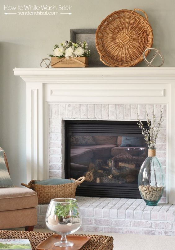How To Whitewash Brick Fireplaces Whitewashed Brick And Succulent Display