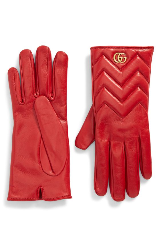 Women's Gucci Gg Marmont Cashmere Lined Leather Gloves, Size 7.5 - Red