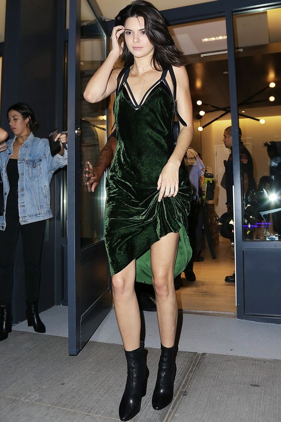 Kendall Jenner in velvet dress see more at www.herstyledview.com