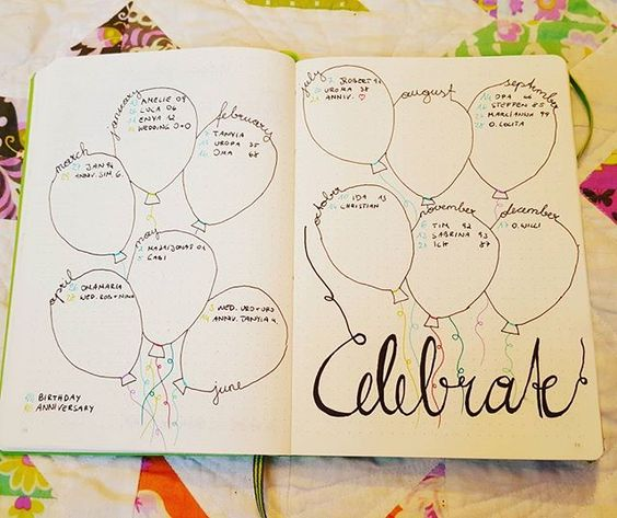 Set up my celebration page today for birthdays and anniversaries.