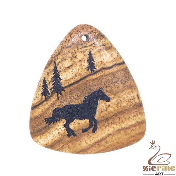 Jewelry necklace Jasper rock Natural picture horse Pendant bead  ZL01041 #ZL #Pendant