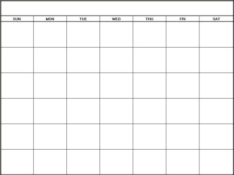 blank calendar template- when printing, choose landscape and fit - printable blank calendar