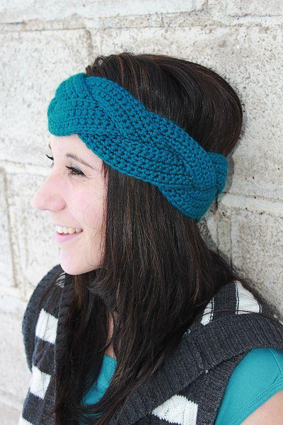 Free Crochet Braided Ear Warmer Pattern : Instant Download - CROCHET PATTERN PDF - Natalie Braided ...