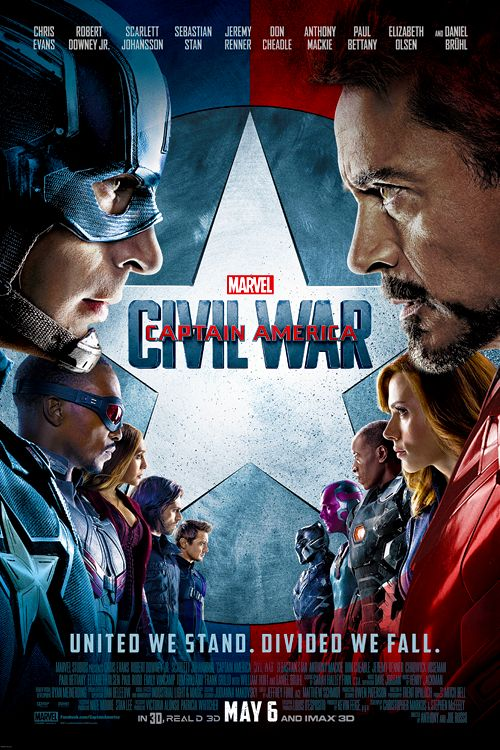 Captain America Civil War poster  Leaving this as a note to do Captain America VS Iron Man makeup project: