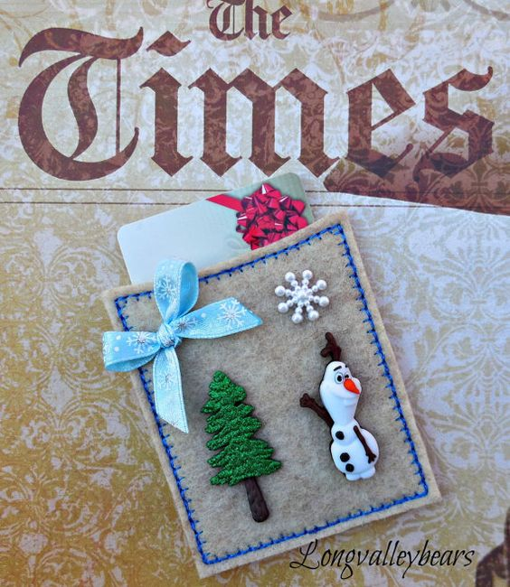 Gift card holder Felt machine embroidery gift by longvalleybears