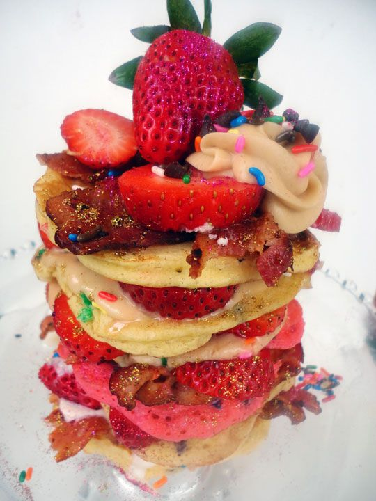 Pancakes for Dinner With Strawberries & Bacon by amandacupcake. Crazy!