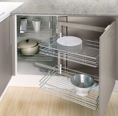Rangement D Angle Avec 4 Paniers Fil Chrome Brico Depot Meuble Angle Cuisine Meuble Cuisine Rangement Cuisine