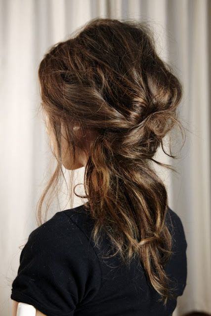 messy 3-twist do  Mom!  We gotta figure out how to do this with your hair!