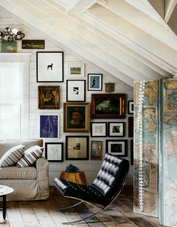 Gimme a chic little corner just like this.: Livingroom, Living Room, Map Screen, Gallery Wall, Art Wall
