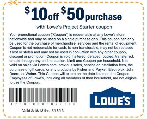 Get $10 OFF Lowe's Printable Coupon