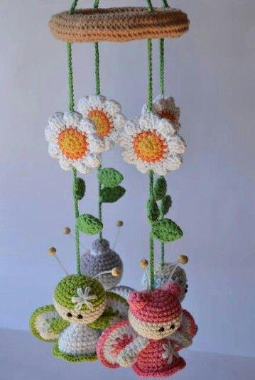 Cute crochet mobile!