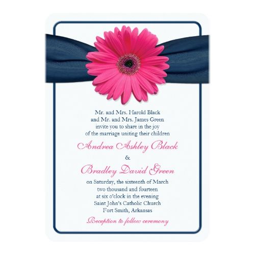 Pink Gerber Daisy Navy Ribbon Wedding Invitation Zazzle Com Wedding Invitation Ribbon Daisy Wedding Invitations Gerbera Daisy Wedding