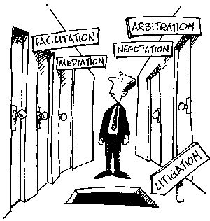 Alternative dispute resolution (ADR)- Resolution of disputes in ways other than traditional judicial process. Negotiation, mediation, and arbitration.
