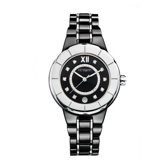 Relógio feminino de cerâmica preta e trilho de diamantes http://m.hstern.com.br/relogio/feminino/sports-luxury/RS9AC204241