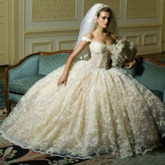 Wedding Dress Lace Corset Top : White and gold wedding sweetheart corset ballgown dress