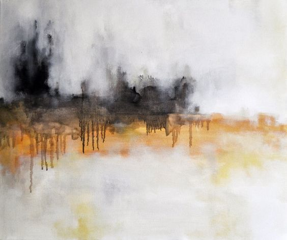 Dark Horizon Original Abstract Painting , Yellow and Black 20x24 ...