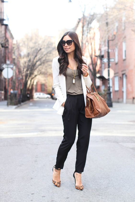 black relaxed pants, green tank, white blazer With Love From Kat // Little Black Pant