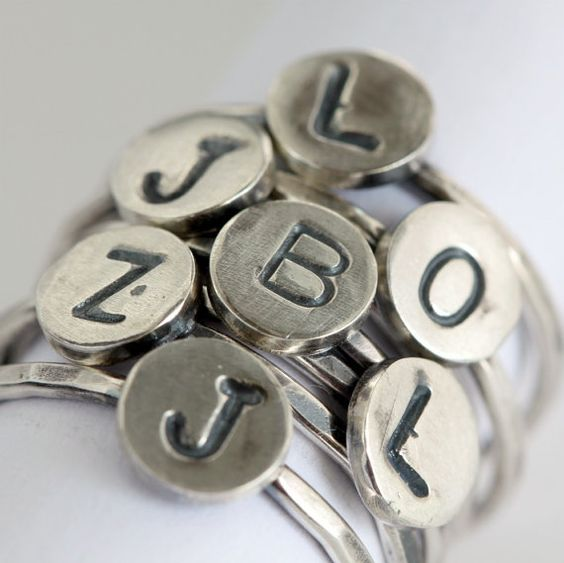 Silver Personalized Monogram Ring by ThirtySixTen on Etsy, $24.00