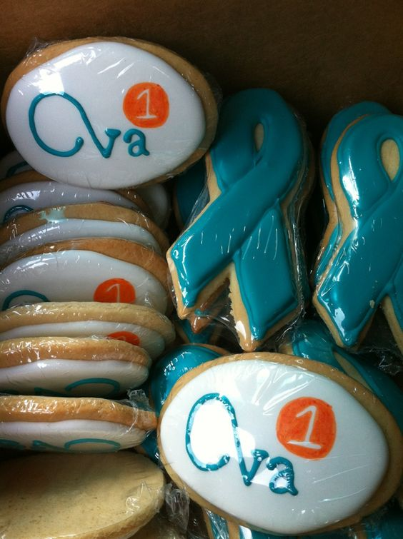 We are making cookies for Ovarian Cancer Awareness.