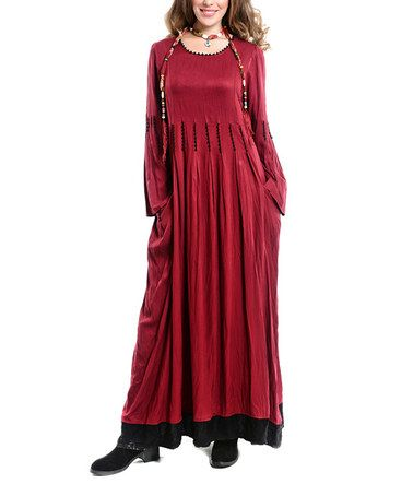 Another great find on #zulily! Burgundy & Black Contrast Maxi Dress by Etnik Esintler #zulilyfinds