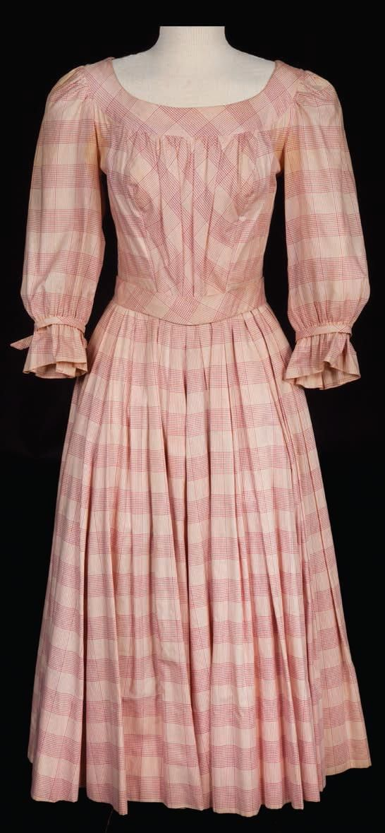 """Signature outfit of a light and medium rose checked two piece dress with belt and back-lacing worn by Shirley Jones as """"Julie Jordan"""" for the 'If I Loved You' number in Carousel (1956)"""