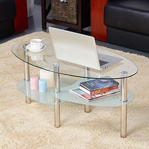 New Yaheetech Round Oval Glass Top Coffee Table Center Table Sofa