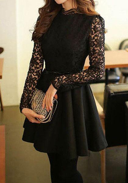 Black Lace-Bodice Dress- Features  Crew Neck: