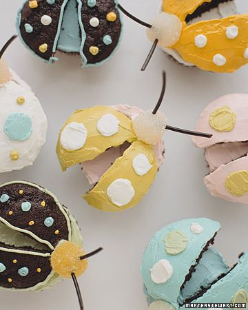 bug cupcakes- cut off the top of the cupcake, add gumdrops for the head and licorice strings for the antennae