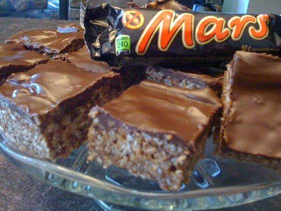 Mars Bars Squares  4 Mars Bars-chopped 1/2 cup butter 3 cups Rice Krispies 1 cup Semi-sweet chocolate chips 1/4 cup butter.  1. Melt Mars Ba...