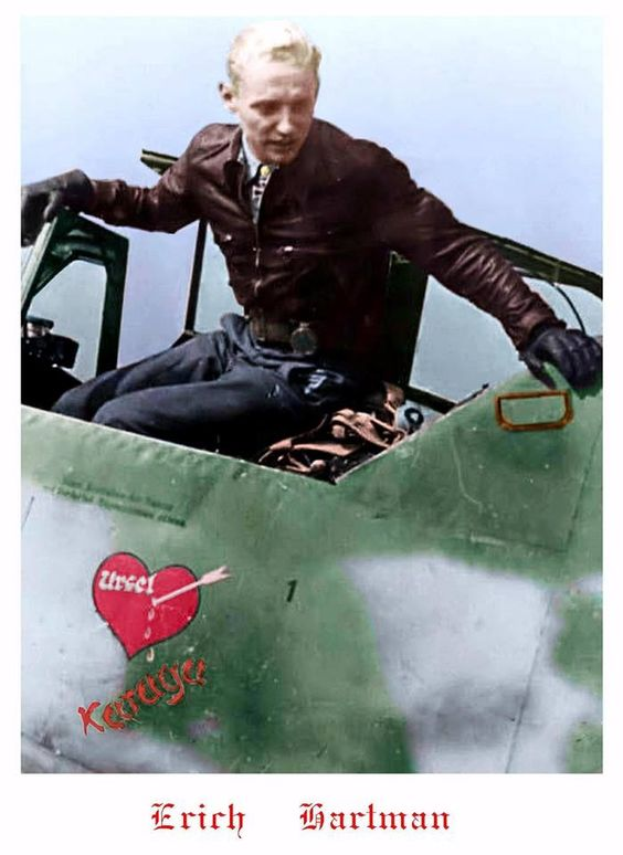 Erich Hartmann, German fighter pilot. He was the most successful fighter ace in the history of aerial warfare. Nicknamed the Blonde Knight and the Black Devil by his Soviet adversaries. He flew 1,404 combat missions, and participated in aerial combat on 825 separate occasions. He claimed, and was credited with, shooting down 352 Allied aircraft - 345 Soviet and 7 American.