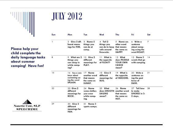 The Next Chapter in my Speech World July Summer Work Calendar from