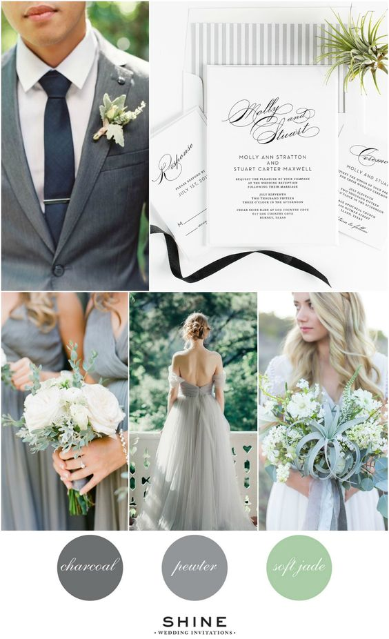 Vintage Gray and Jade Wedding Inspiration | Calligraphy Wedding Invitations | Airplant Wedding