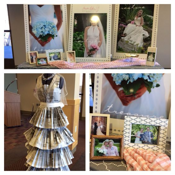Photo booth details including newspaper wedding gown.