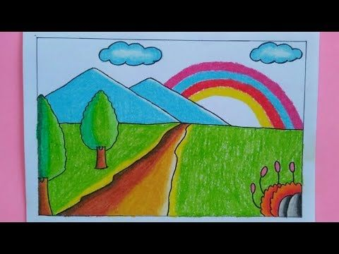 Cara Menggambar Pemandangan Alam Pelangi Youtube Poster Drawing Arts And Crafts For Kids Art For Kids
