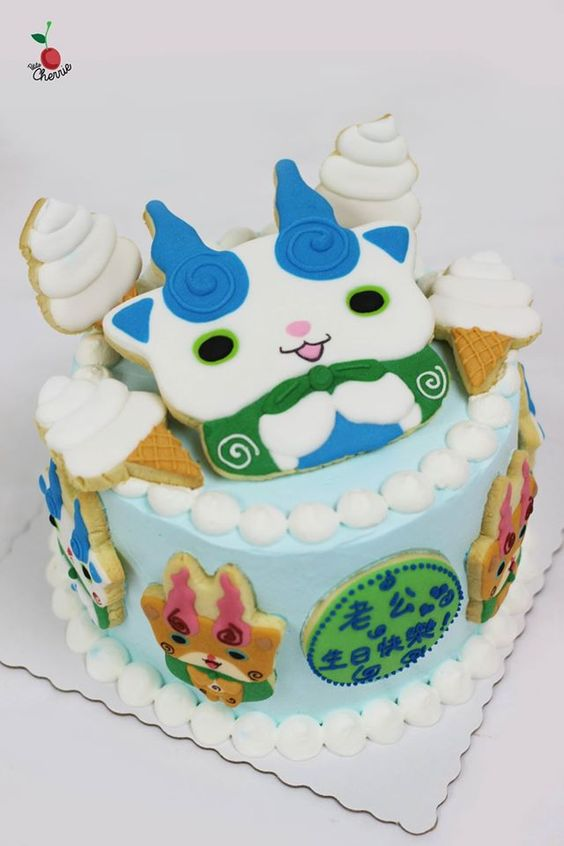 Komasan  Komajiro from Yo,Kai Watch Birthday Cake Made some ice,cream cones
