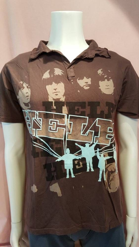 Beatles HELP! Help Graphic Polo Tee Shirt top T-Shirt Brown S Men's #AppleCorps #GraphicTee #beatles #thebeatles #men #menswear #menstees #tees #shopping #shop #sale #sales #ebay #fashionmagenet