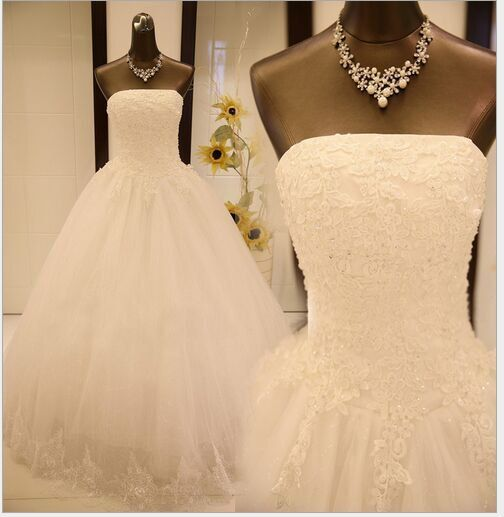 2015 New Beaded A Line Lace wedding dress Bridal Gown customize Sizes