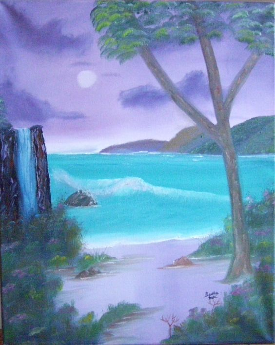 16 x 20 wrapped canvas with w/Oils by Bertha MacIntyre following tutorial of Darrell Crow.  Seascape Graduation May 2015. Donated to fund raiser for LM Montgomery School Nov 2015