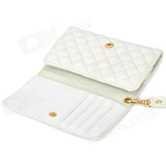 Wallet Style Protective PU Leather Case for Iphone 4 / 4S - White