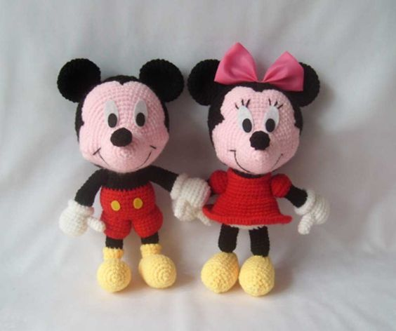 Wool Mickey Mouse and Minnie Mouse Doll - Adorable Handmade Crochet Doll Toys