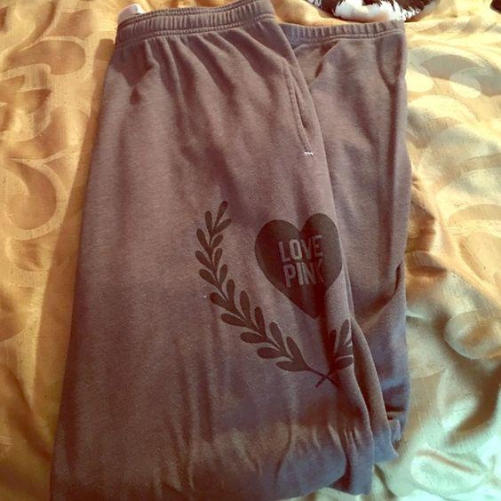 Victoria Secret Sweat Pants Gray & Black Large VS Sweat pants Victoria's Secret Pants