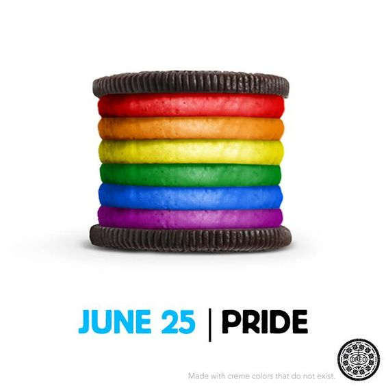 As part of the country's gay pride celebrations, Oreo posted this photo on its Facebook page in their support.