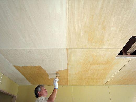 天井シナ合板 室内木部のグロスクリアオイル仕上げ 合板インテリア
