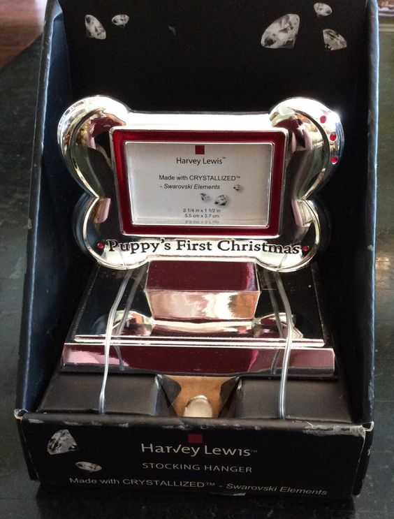 Harvey Lewis Puppy's First Christmas Stocking Hanger New In Package Swarovski  #HarveyLewis